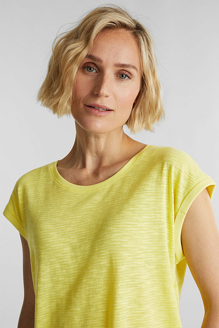 Slub top with a casual cut, BRIGHT YELLOW, detail image number 5