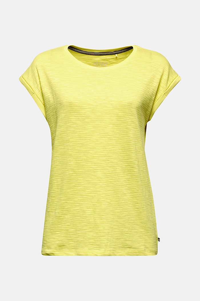 Slub top with a casual cut, BRIGHT YELLOW, detail image number 6