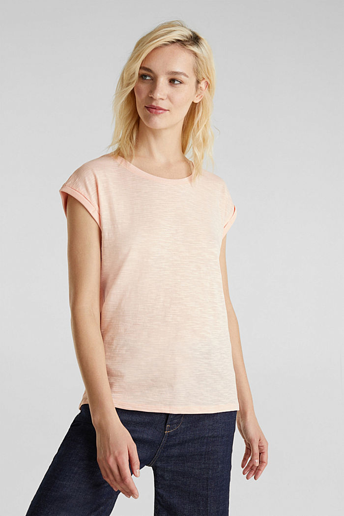 Slub top with a casual cut, PEACH, overview
