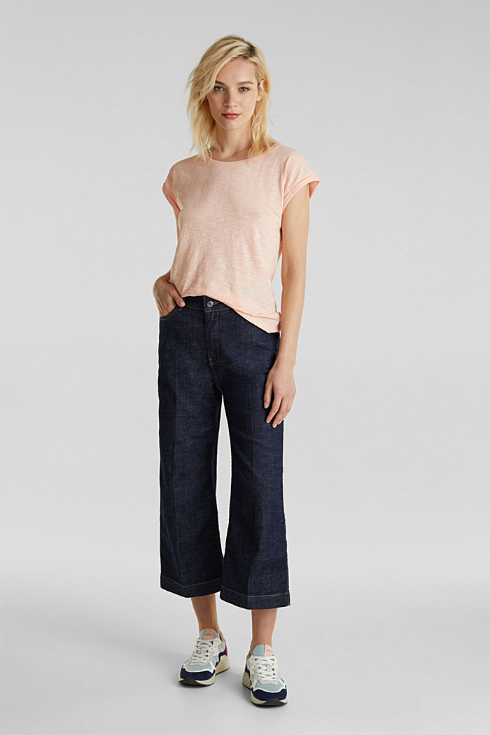 Slub top with a casual cut, PEACH, detail image number 1