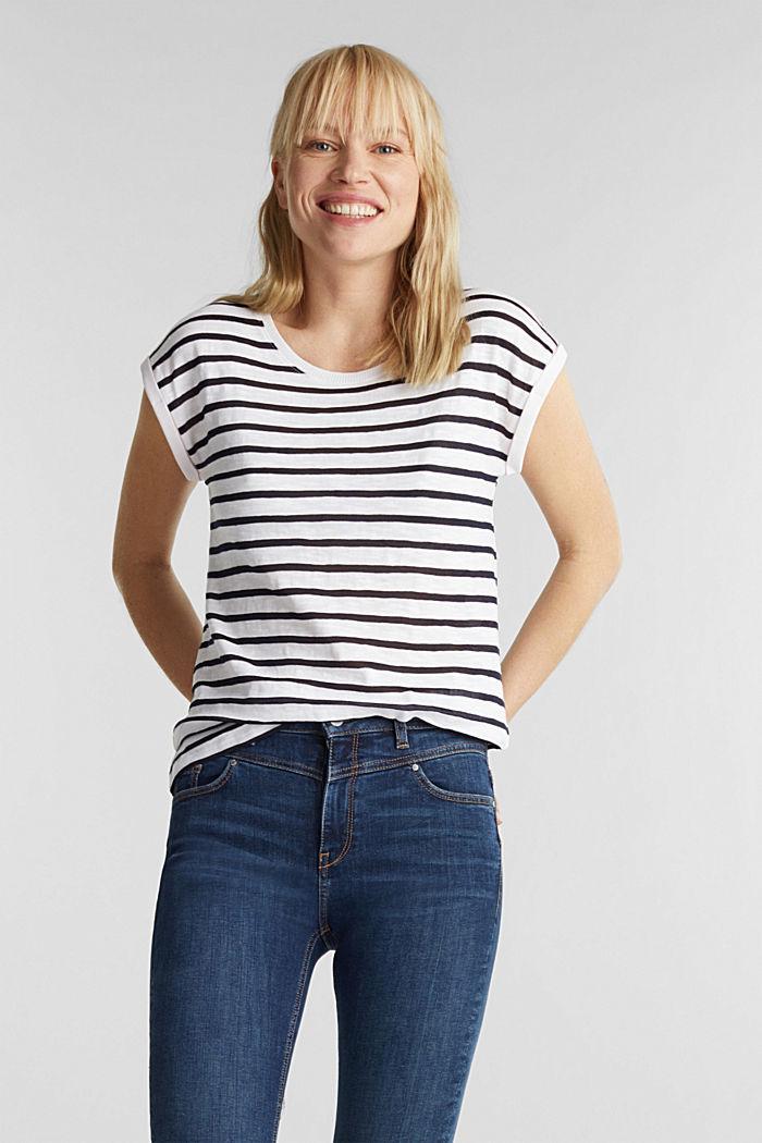 Slub-Shirt mit Ripp-Blenden, WHITE, detail image number 0
