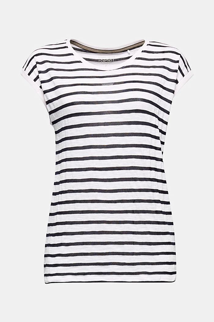 Slub-Shirt mit Ripp-Blenden, WHITE, detail image number 5