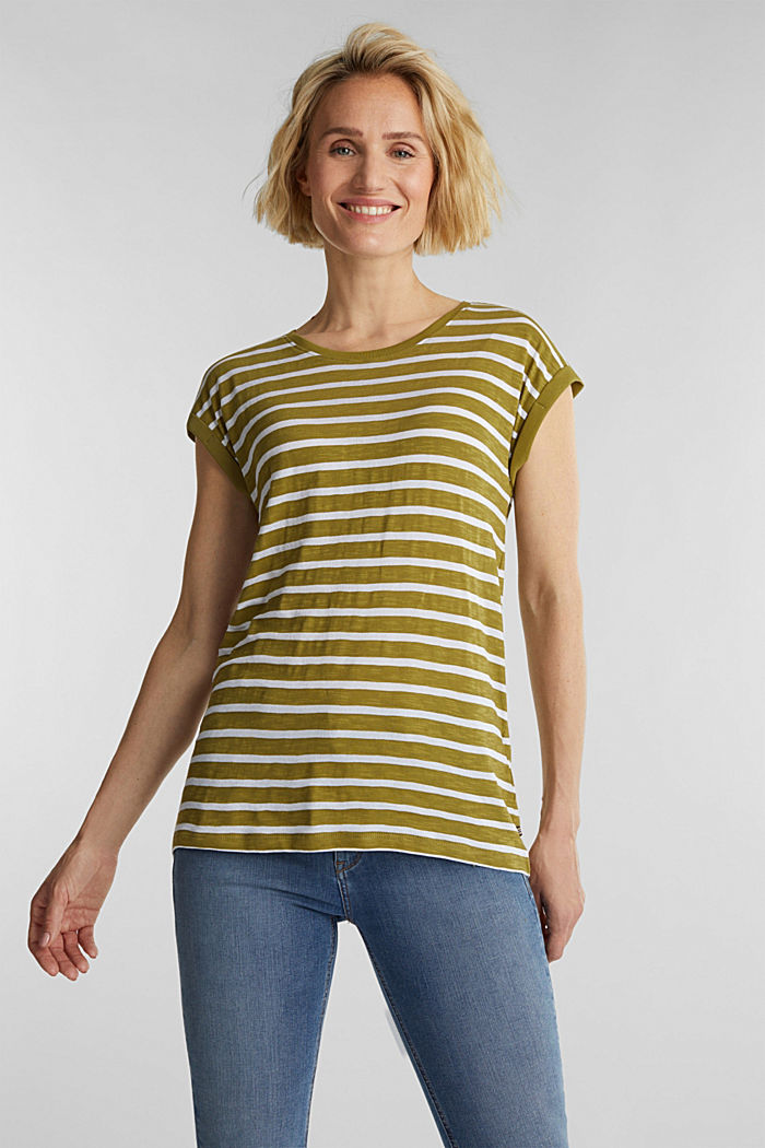 Slub top with ribbed trims, OLIVE, detail image number 0