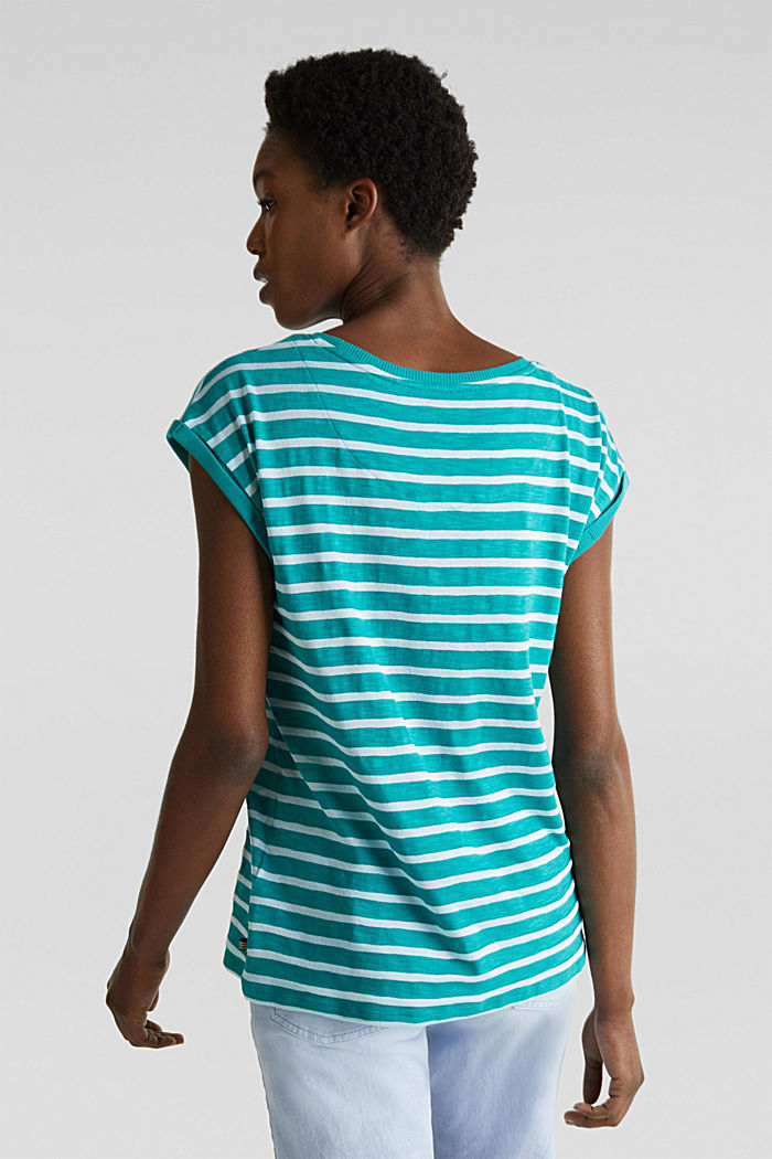 Slub top with ribbed trims, TEAL GREEN, detail image number 3