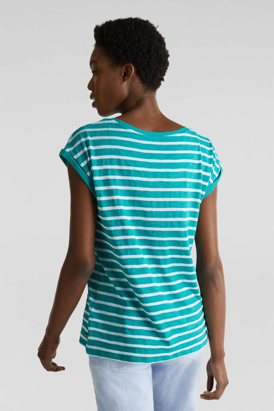 Slub top with ribbed trims, TEAL GREEN 4, detail image number 3