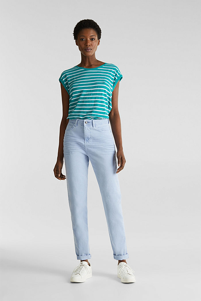 Slub top with ribbed trims, TEAL GREEN, detail image number 1