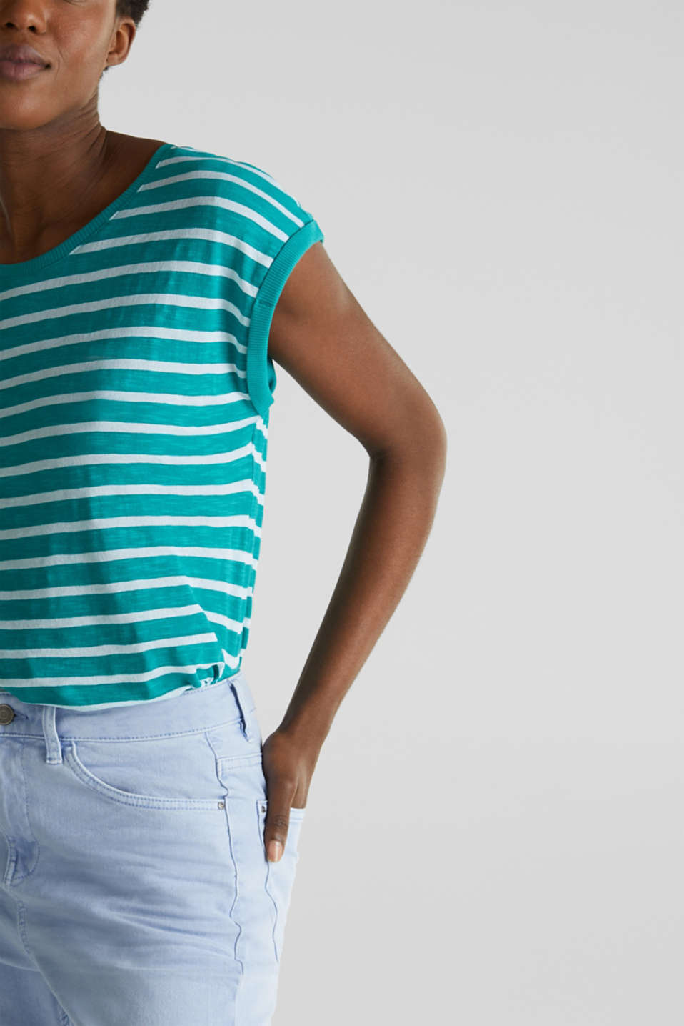 Slub top with ribbed trims, TEAL GREEN 4, detail image number 2