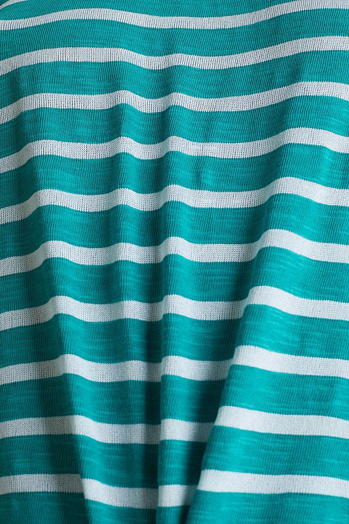 Slub-Shirt mit Ripp-Blenden, TEAL GREEN, detail image number 4