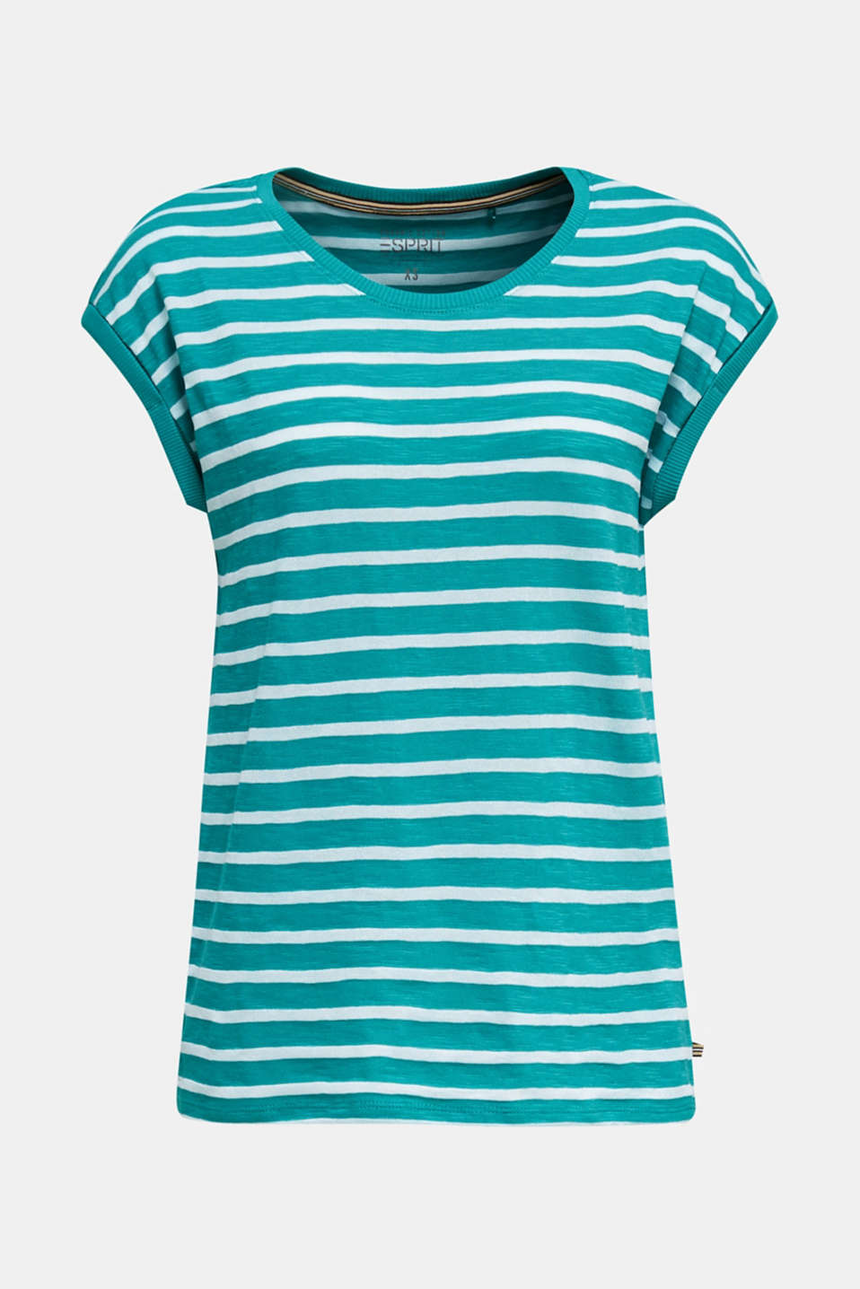 Slub top with ribbed trims, TEAL GREEN 4, detail image number 6