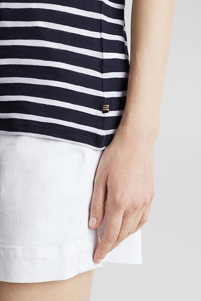 Slub-Shirt mit Ripp-Blenden, NAVY, detail image number 2