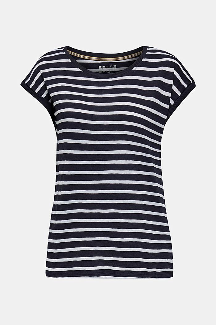 Slub-Shirt mit Ripp-Blenden, NAVY, detail image number 6