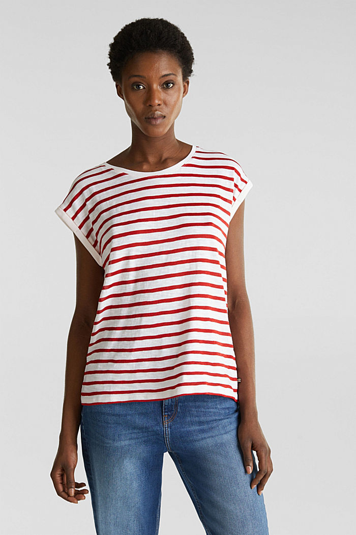 Slub top with ribbed trims, DARK RED, detail image number 0