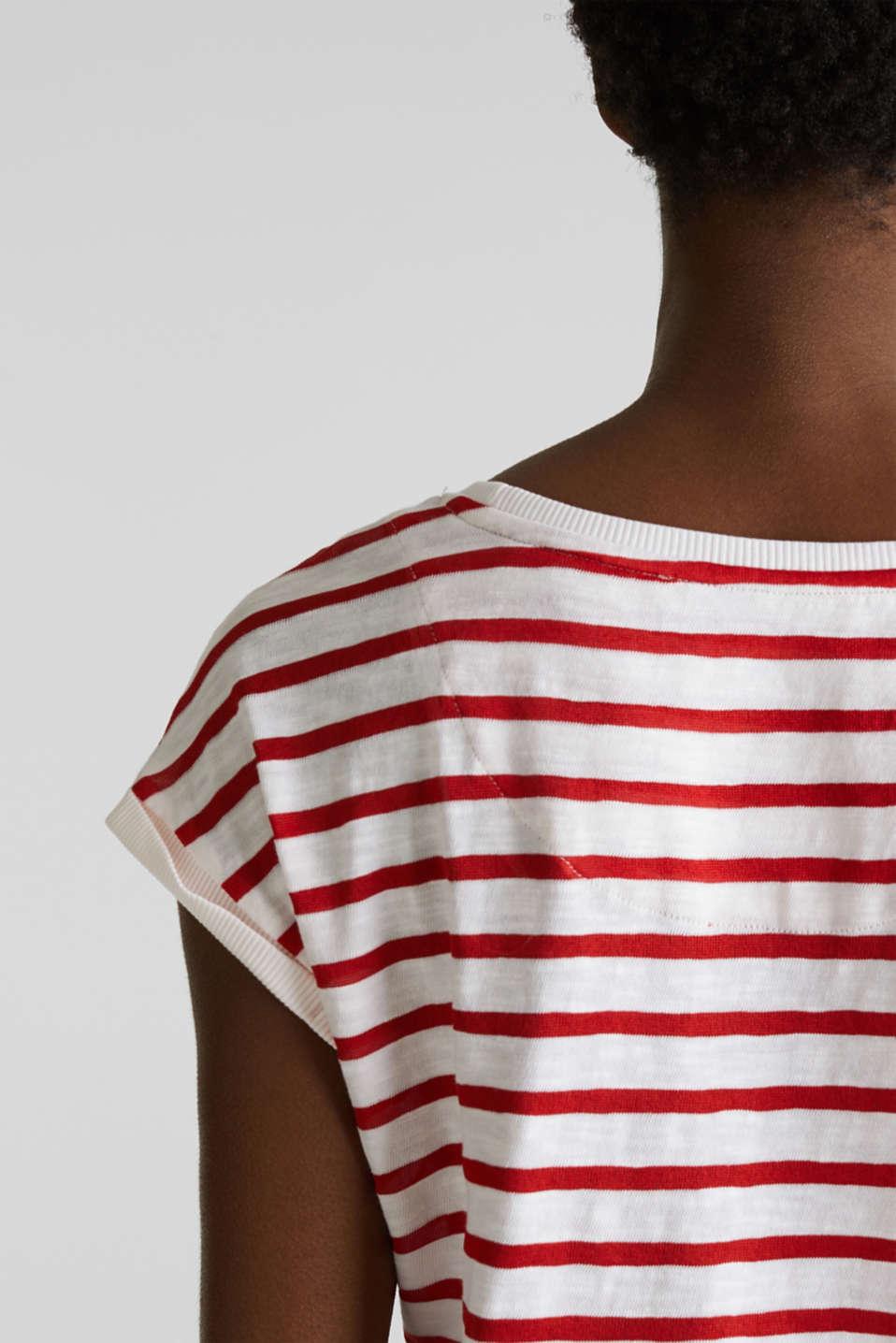 Slub top with ribbed trims, DARK RED 3, detail image number 2