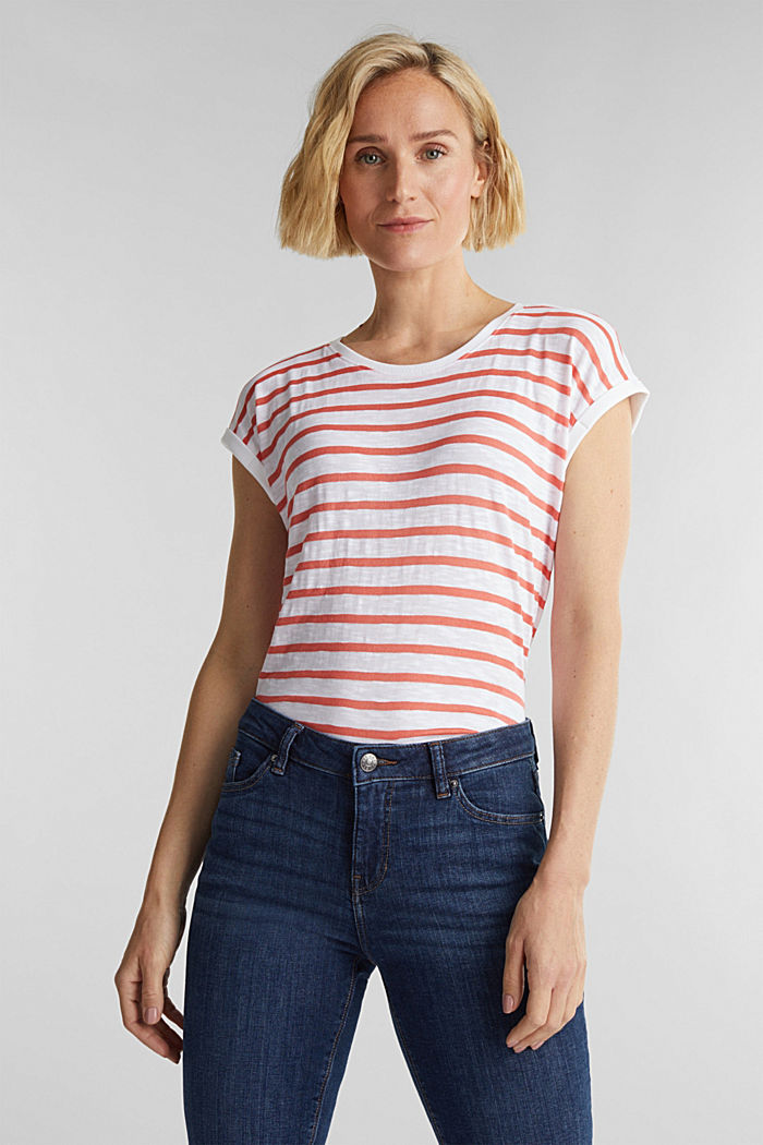 Slub top with ribbed trims, CORAL, detail image number 0