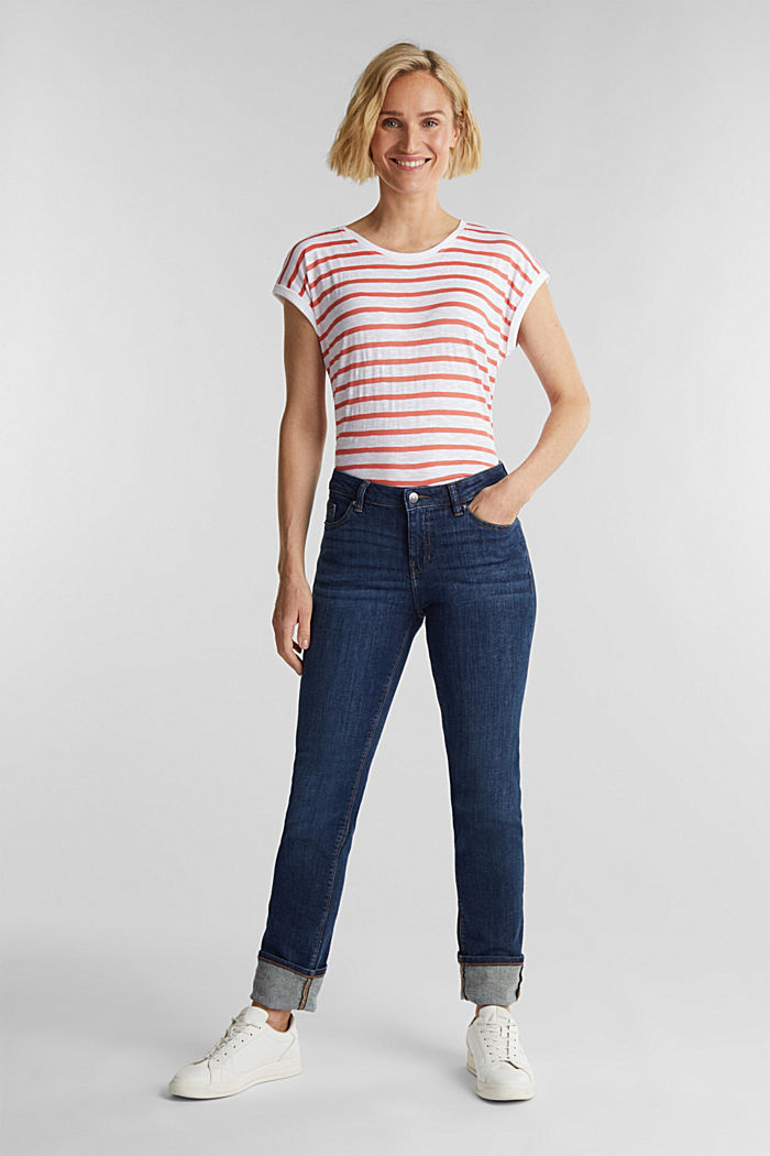 Slub top with ribbed trims, CORAL, detail image number 1