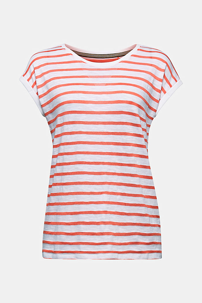 Slub top with ribbed trims, CORAL, detail image number 6