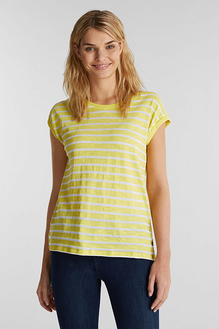 Slub-Shirt mit Ripp-Blenden, BRIGHT YELLOW, detail image number 0