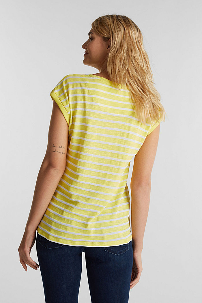 Slub-Shirt mit Ripp-Blenden, BRIGHT YELLOW, detail image number 2