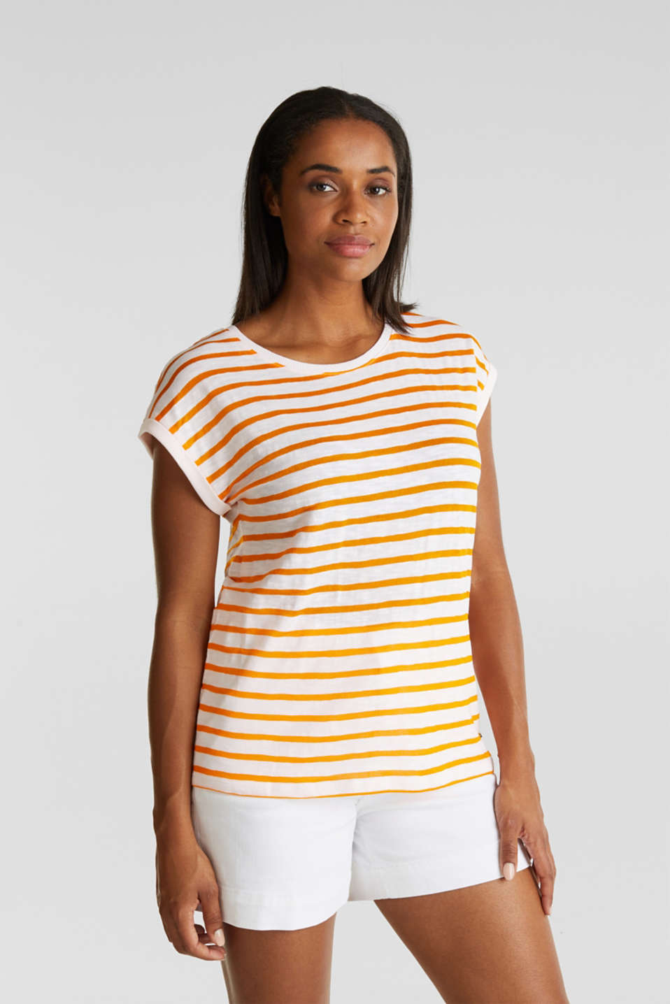 Esprit - Slub top with ribbed trims