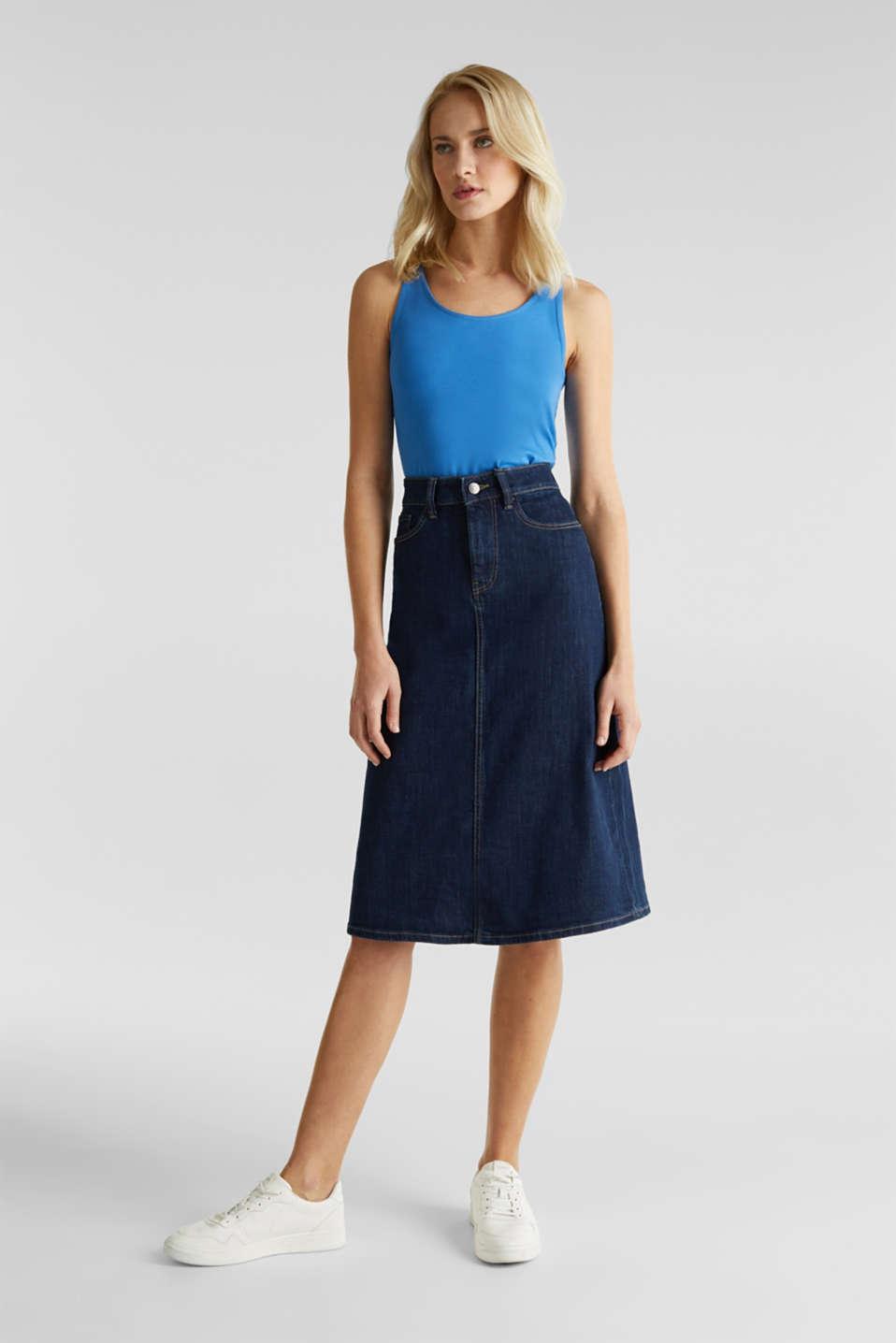 Stretch cotton vest, BRIGHT BLUE 3, detail image number 1
