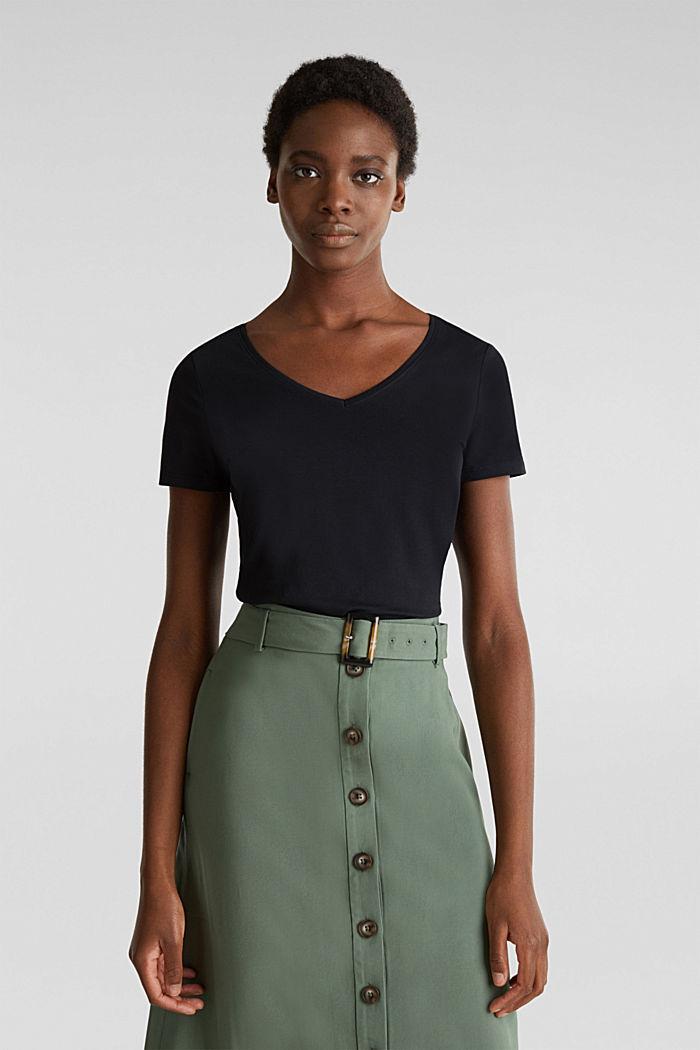 Shirt met V-hals, katoen-stretch, BLACK, detail image number 0
