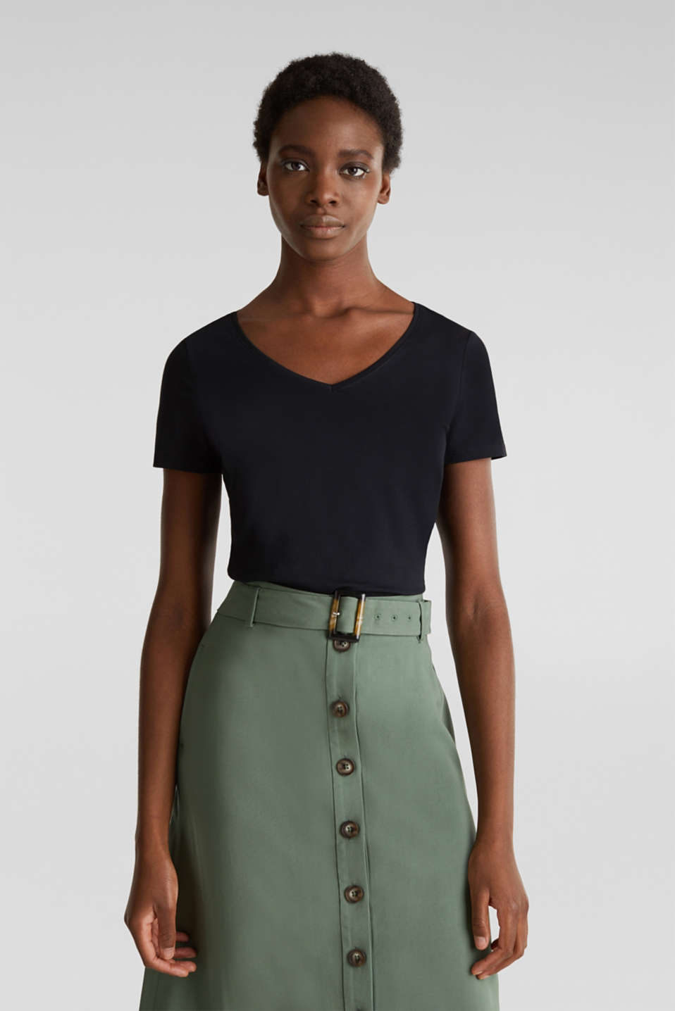 V-neck top made of stretch cotton, BLACK, detail image number 0