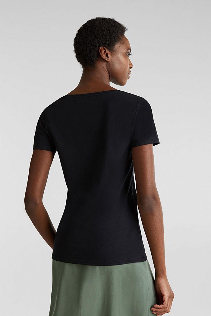 Shirt met V-hals, katoen-stretch, BLACK, detail image number 2