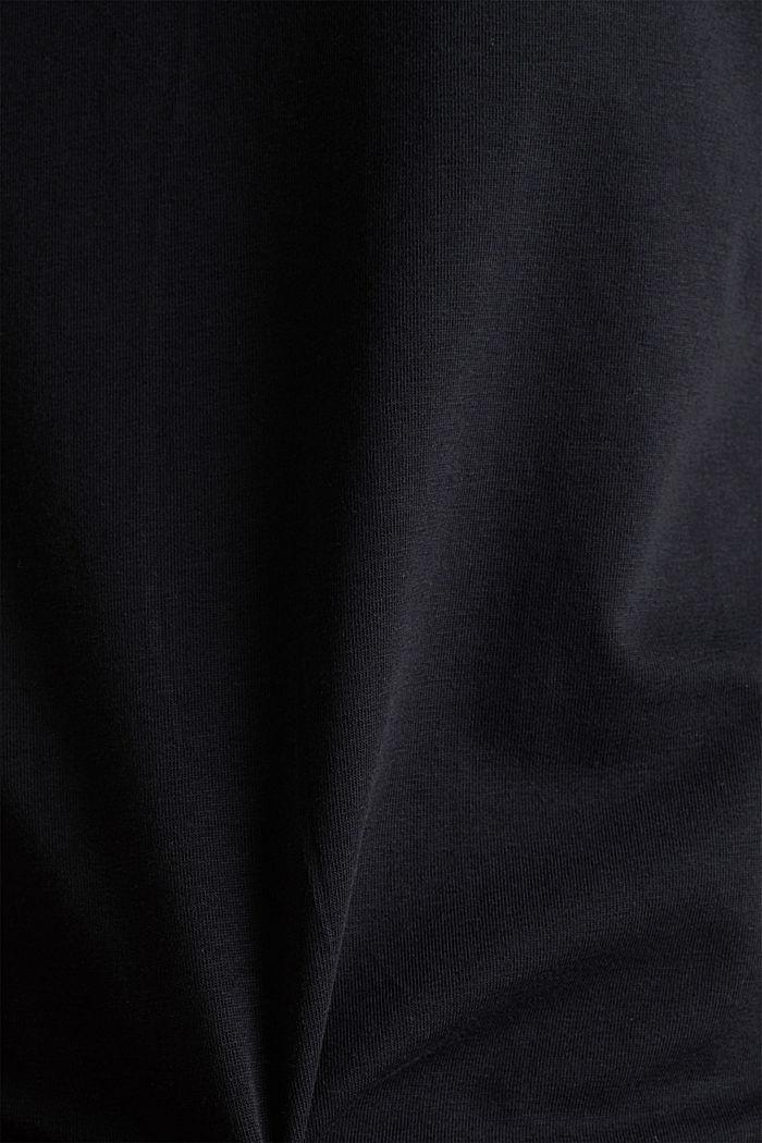 Shirt met V-hals, katoen-stretch, BLACK, detail image number 3