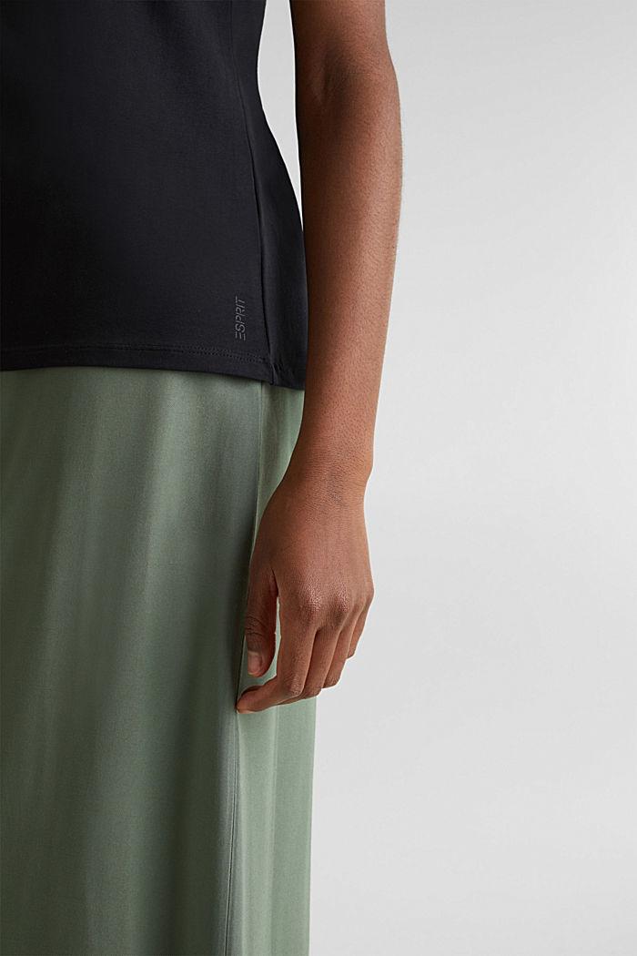Shirt met V-hals, katoen-stretch, BLACK, detail image number 4
