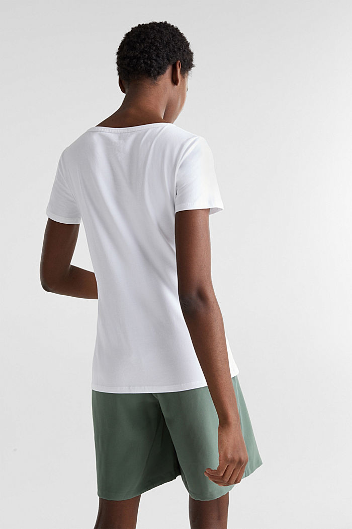 V-neck top made of stretch cotton, WHITE, detail image number 3