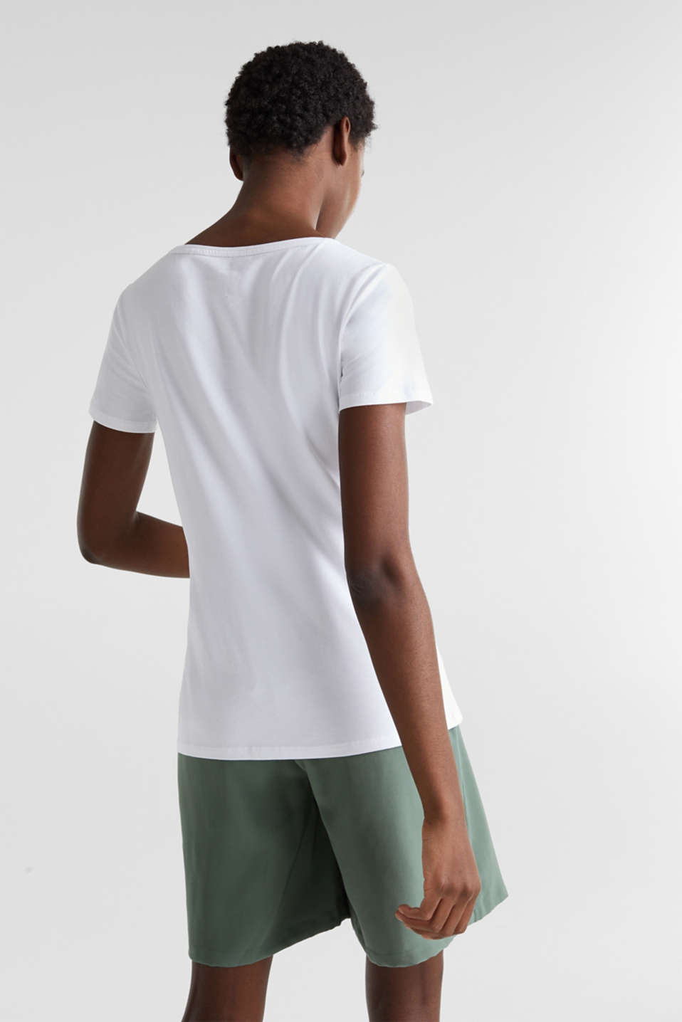 Stretch cotton, V-neck T-shirt, WHITE, detail image number 3
