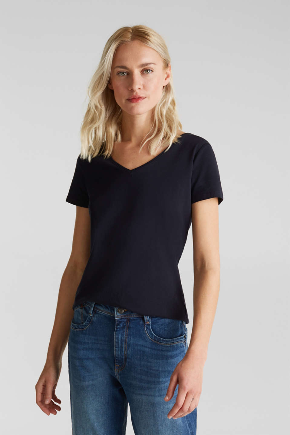 Esprit - T-shirt con scollo a V in cotone stretch