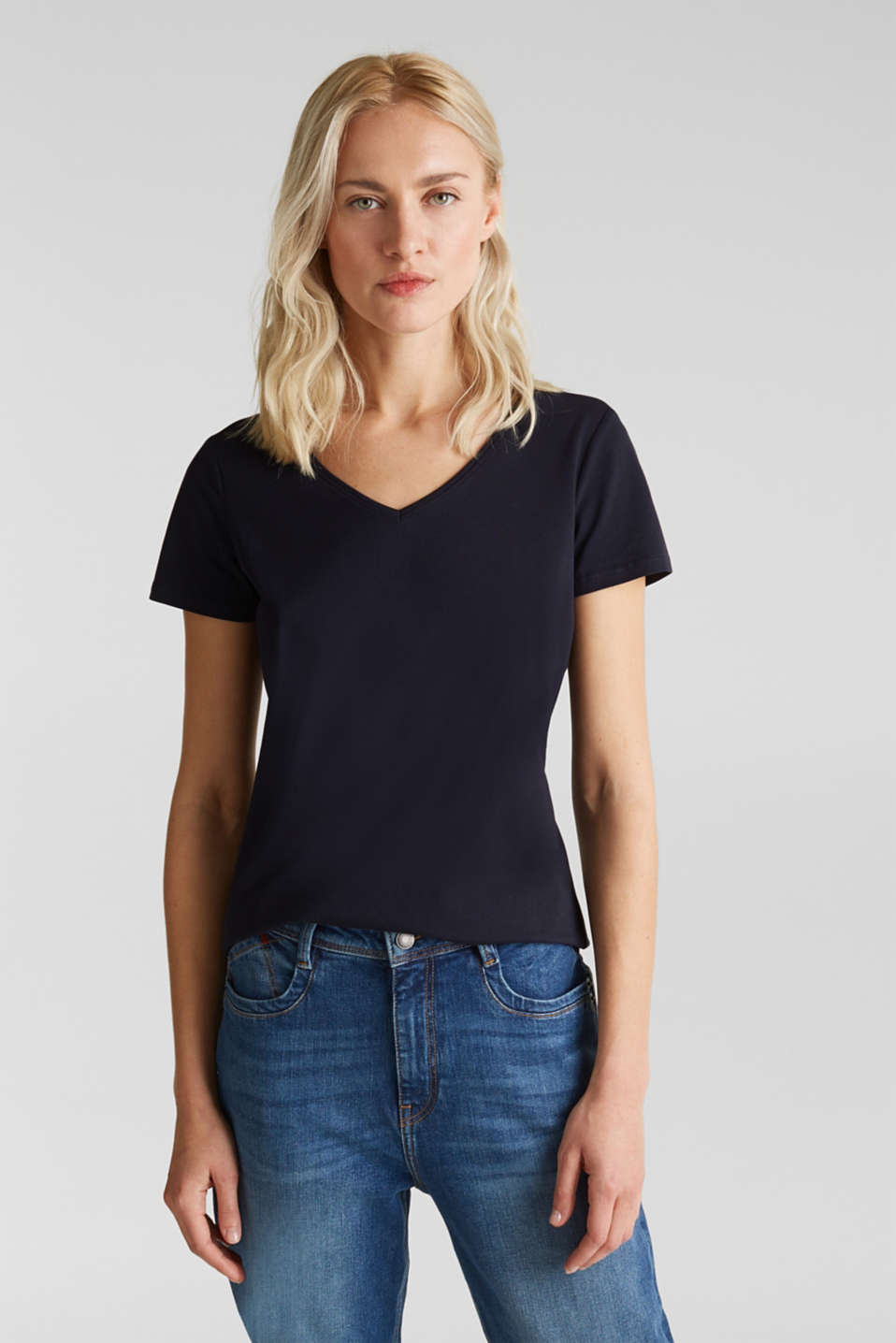 Stretch cotton, V-neck T-shirt, NAVY, detail image number 5