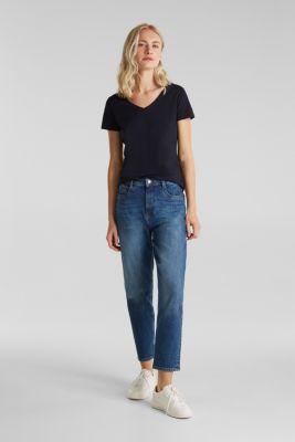 Stretch cotton, V-neck T-shirt, NAVY, detail