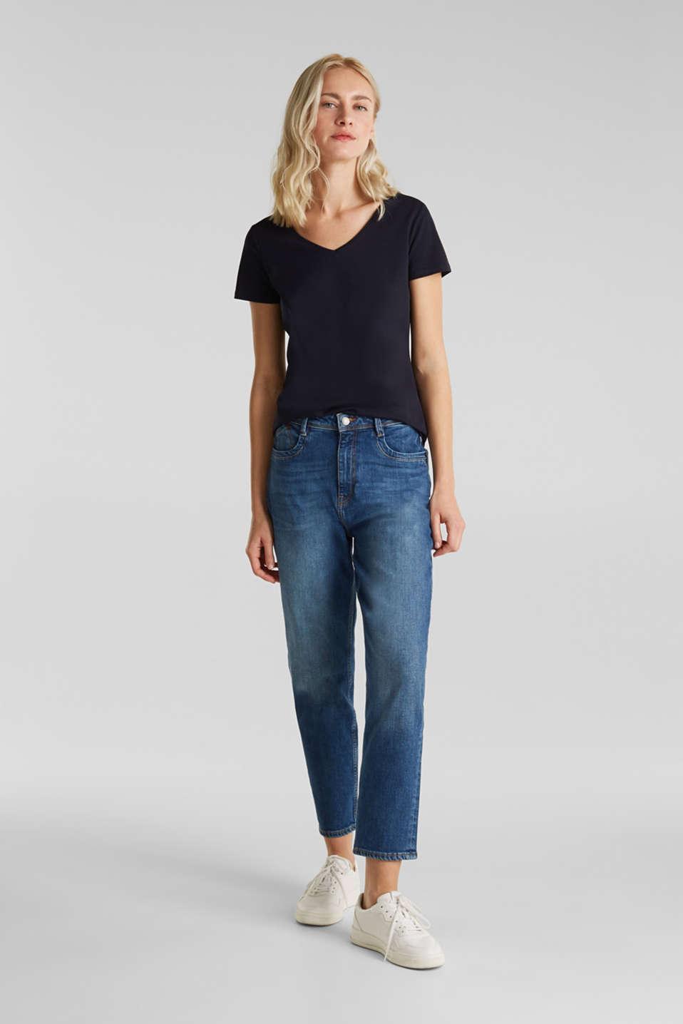 Stretch cotton, V-neck T-shirt, NAVY, detail image number 1