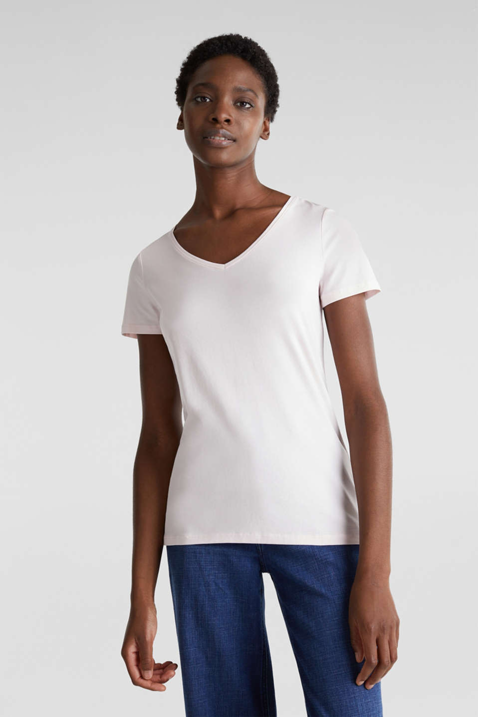 Esprit - V-Neck-Shirt, Baumwoll-Stretch