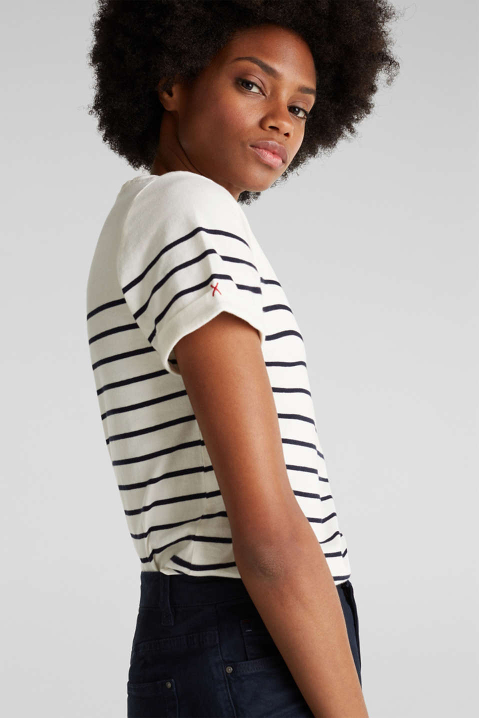 Striped top with embroidery, 100% cotton, OFF WHITE, detail image number 5