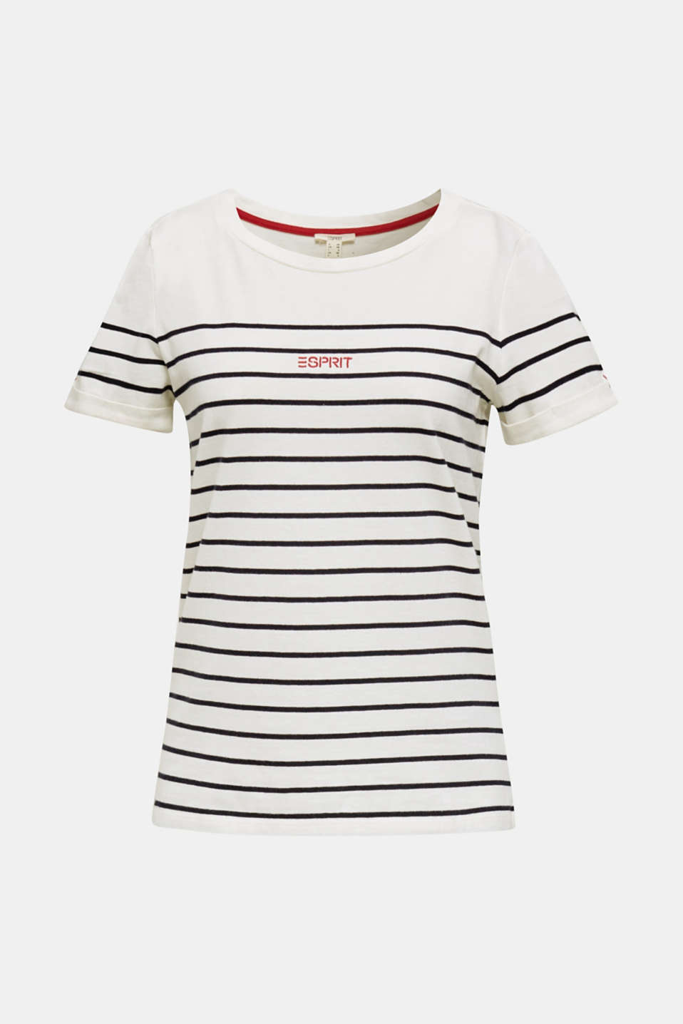 Striped top with embroidery, 100% cotton, OFF WHITE, detail image number 6