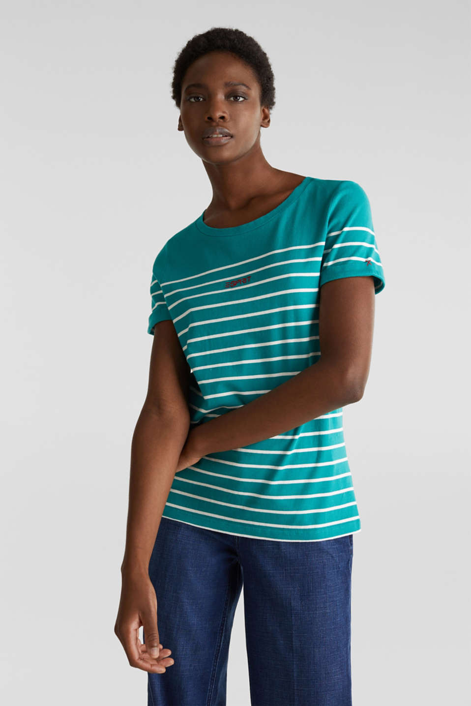 Striped top with embroidery, 100% cotton, TEAL GREEN, detail image number 0