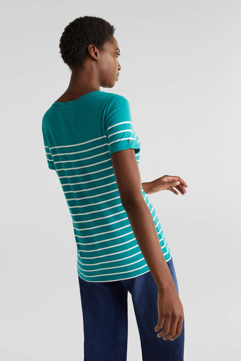 Striped top with embroidery, 100% cotton, TEAL GREEN, detail image number 2