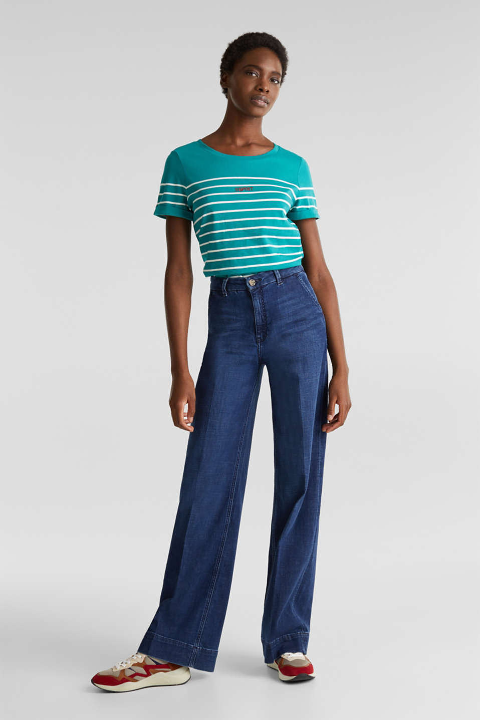Striped top with embroidery, 100% cotton, TEAL GREEN, detail image number 1