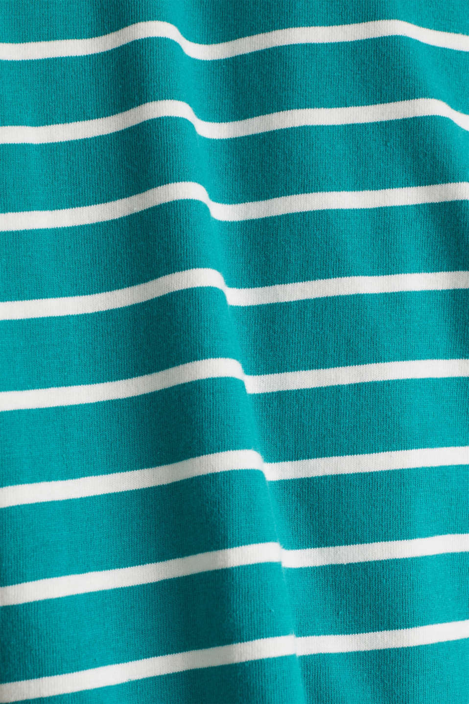 Striped top with embroidery, 100% cotton, TEAL GREEN, detail image number 3