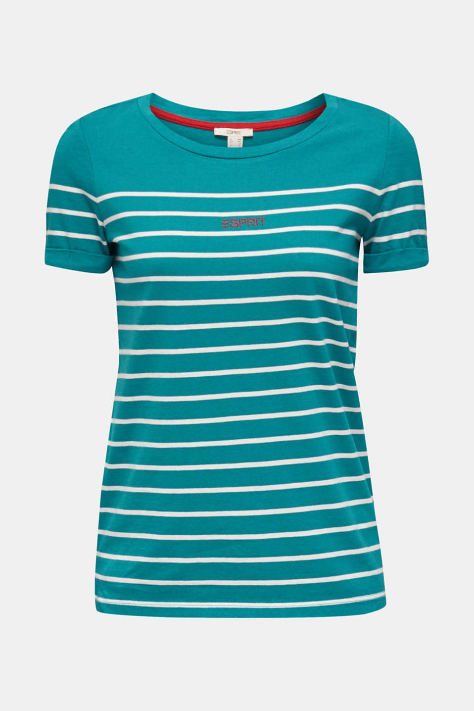 Striped top with embroidery, 100% cotton, TEAL GREEN, detail image number 5