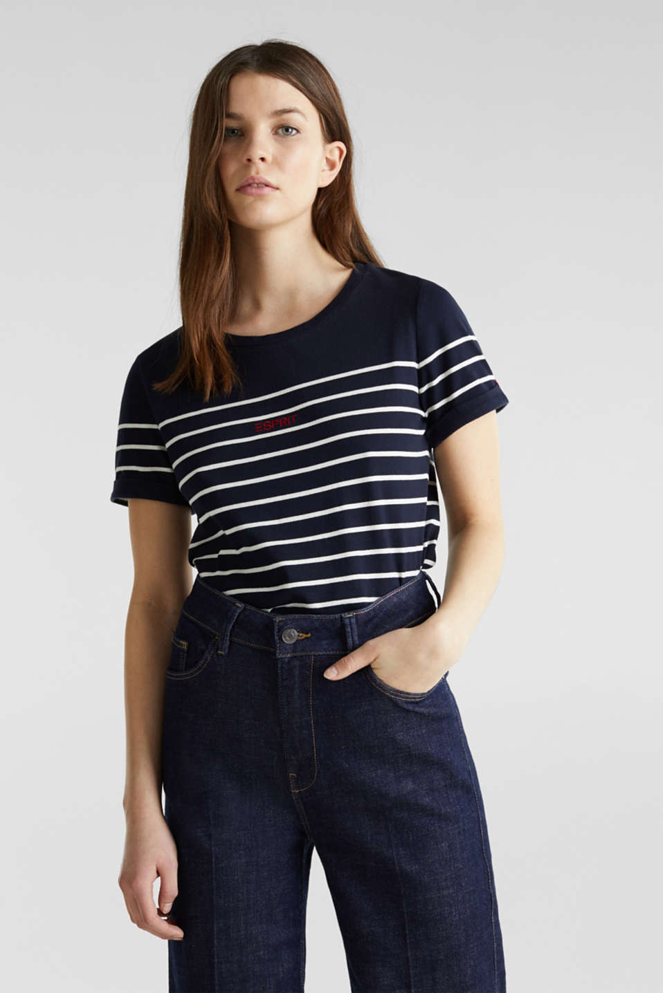 Striped top with embroidery, 100% cotton, NAVY, detail image number 0