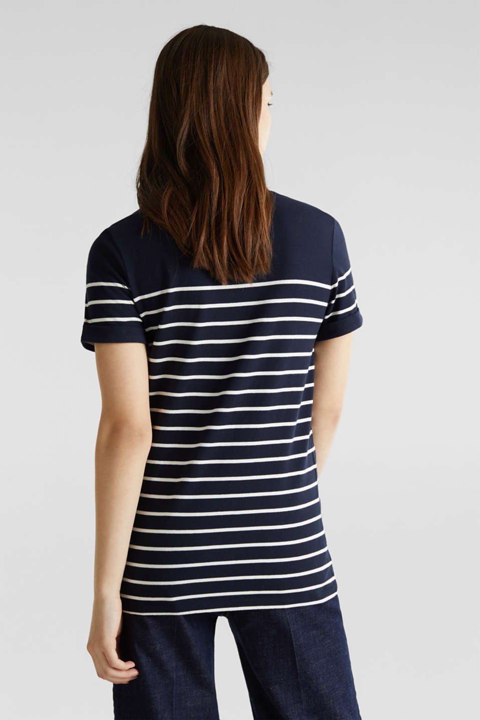 Striped top with embroidery, 100% cotton, NAVY, detail image number 3