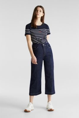 Striped top with embroidery, 100% cotton, NAVY, detail