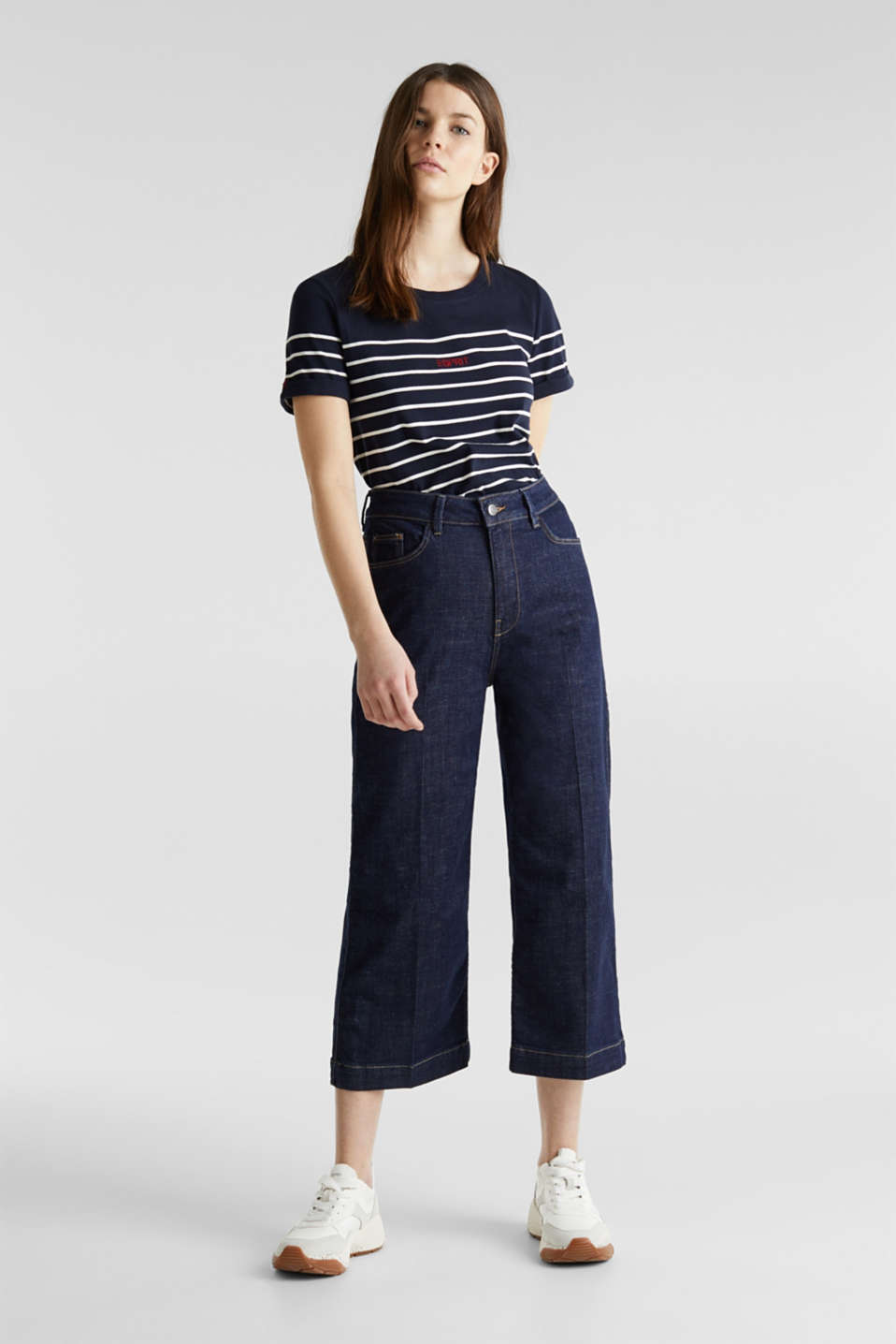 Striped top with embroidery, 100% cotton, NAVY, detail image number 1