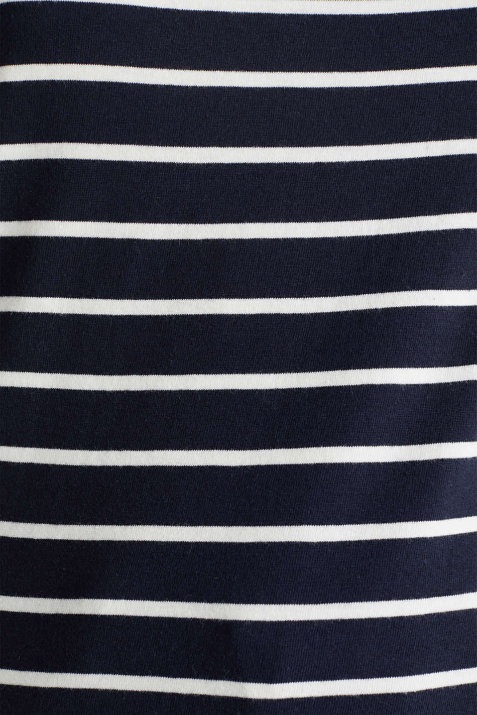Striped top with embroidery, 100% cotton, NAVY, detail image number 4