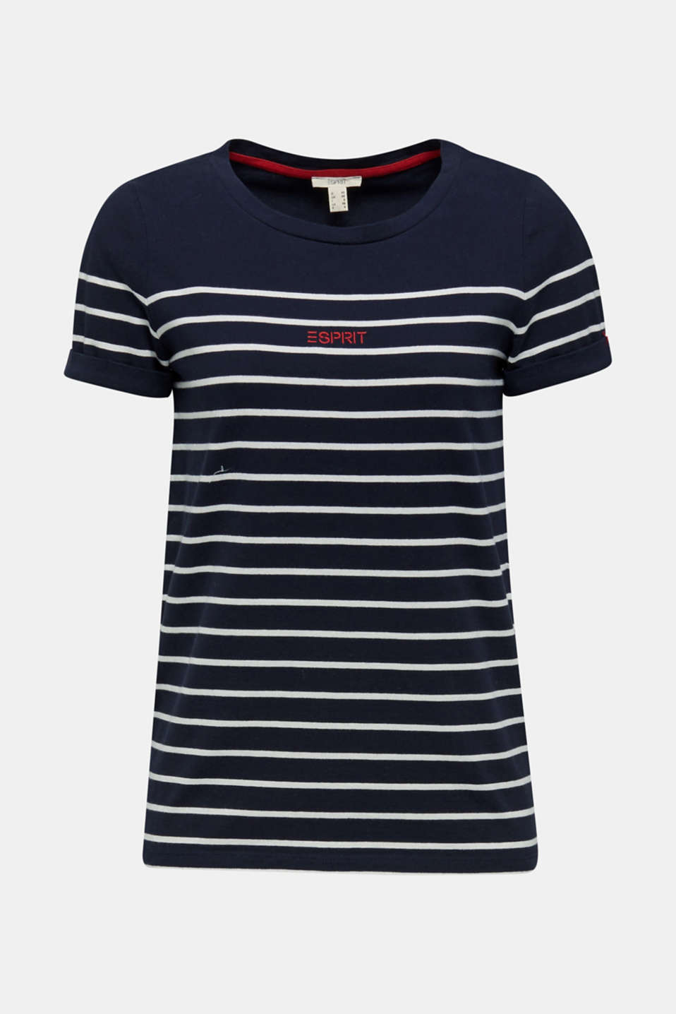 Striped top with embroidery, 100% cotton, NAVY, detail image number 5