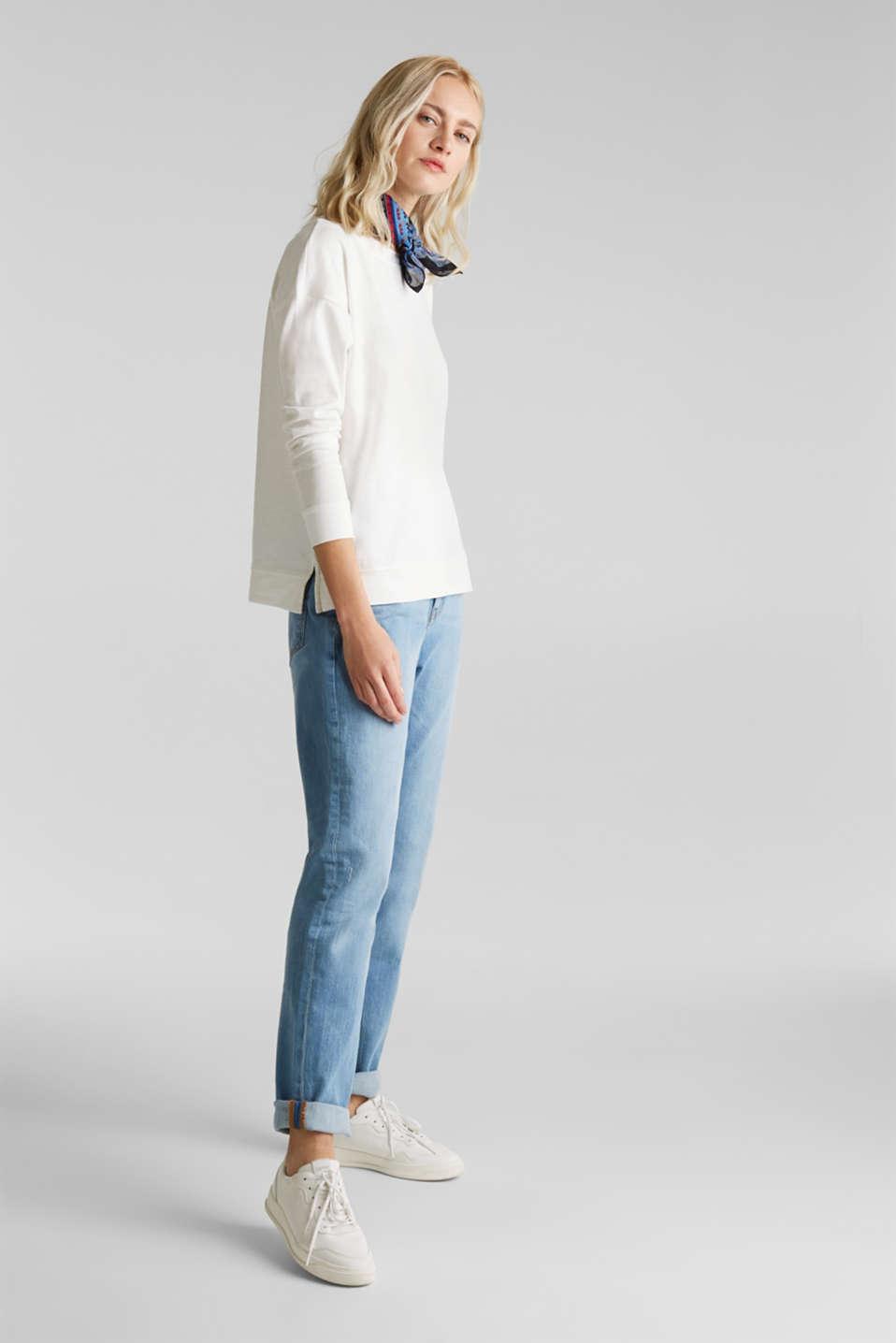Slub sweatshirt made of 100% organic cotton, OFF WHITE, detail image number 1